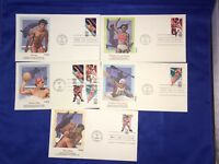 OLYMPICS 1984 FLEETWOOD FIRST DAY COVERS WATER POLO, KAYAK, LONG JUMP, WRESTLE