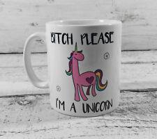 BITCH PLEASE I'M A UNICORN MUG CUP GIFT PRESENT RAINBOW LOVER PINK BLUSHING FUN