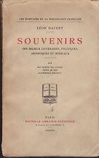 LEON DAUDET - SOUVENIRS avec DEDICACE de L'AUTEUR - 1926 - TOME 2