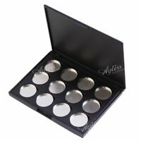 New 12 Piece Refill Empty Eyeshadow Blush Palette 25mm Pan Magnetic Firm Case