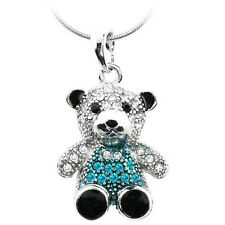 """Silver and Blue Color 3D Teddy Bear Charm Pendant with Crystals 16"""" Snake Chain"""