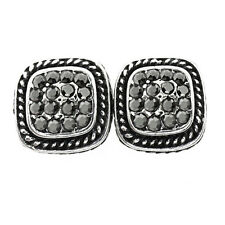 10mm Silver and Black Color Square Shape with Black Crystals Earring Studs