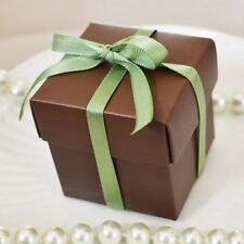 10 Square Chocolate Brown Favor Box Wedding Baby Shower Gift Box Jewelry Box