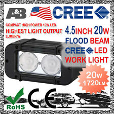 """A&B 20W 4.5"""" CREE-LED FLOOD BEAM COMPACT WORK LIGHT OFFROAD LAMP 9-32V 1720LM"""