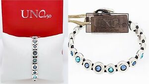 NEW UNO de 50 Silver Tone Freedom Magic Touch Blue Crystals Bracelet
