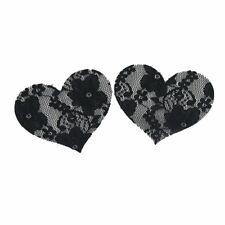 black Lace Heart Nipple Cover Sequin Women Pasties Adhesive Stickers,Un-bra Brea