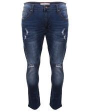 Crosshatch Denim Slim Fit Rip Jeans Blue Size 34W 34L DH084 CC 14