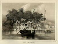 Buddhist Temple Macau Macao China 1856 Perry Expedition litho view print