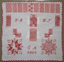 1901 VERY BEAUTIFUL RED & WHITE DUTCH DARNING CROSS STITCH SAMPLER NEEDLEWORK