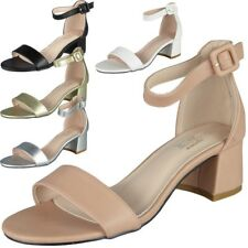 Womens Ankle Strap Shoes Ladies Shiny Party Buckle Chunky Low Heel Sandals Size