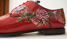 Dolce & Gabbana Runway Crimson Red Floral Leather Derby Shoes Size 10 Italy