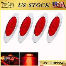 "4x Red 6.5"" Side Marker Clearance Light 16LED for Peterbilt Lorry Van Truck US"