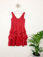 Monsoon Red Fusion Ruffle Dress Size 12 Sleeveless Occasion party career