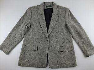 Vintage Orvis USA Women 14 P Grey Tweed Blazer Jacket 1-Button Classic Outdoor G