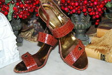 JOAN & DAVID COUTURE HAND MADE ITALY CROC STYLE LEATHER STRAP SANDALS SZ 8 1/2 M