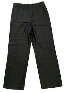 Ann Taylor 100% Silk Wide Leg Business Pants 8 Black High Waisted Side Zip 29x32