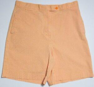 Lizgolf Orange/White Seersucker Golf Shorts Size 12