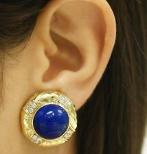 Blue Lapis Lazory Diamond & Gold Clip on Earrings 18k, 18K Gold Clip On Earrings