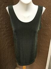 New Chico's Travelers Fatigue Cross Dye Olive Green Tank Top 2 = Large L 14 NWT