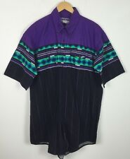 VINTAGE RETRO AZTEC WESTERN COWBOY ROCKABILLY TRIBAL NAVAJO SHIRT UK XL