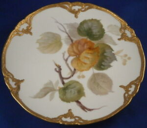 Great KPM Berlin Art Nouveau Porcelain Tree Leaf Scene Plate Porzellan Teller #6