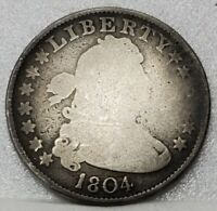 1804 Draped Bust Quarter Nearly Good Details - Very Scarce & Problem Free Coin
