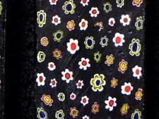 Z~ Black wih Color Millifiore Flower Glass Slices x 3