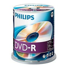 PAQUET DE 100 PHILIPS 16 x VITESSE DVD-R DISQUES 4,7 GO MARCHAND GB