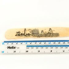 Hand Carved Scrimshaw Mermaid Letter Opener Maritime Antiques