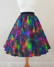 1950s Circle Skirt Rainbow Galaxy - All Sizes - Rockabilly Colourful Space Stars