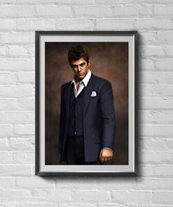 Scarface Tony Montana (Al Pacino) Portrait Painting Canvas 11 X 15 Poster