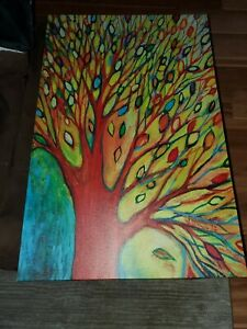 """Wall Tree on Canvas Hanging Picture 35""""x23"""" colorful"""