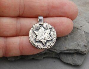 "Six Pointed Hexagram / Star of David Jewish Pendant Sterling Silver 7/8"" 7 gram"