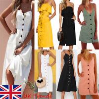 Womens Strappy Button Pocket Holiday Dress Summer Beach Midi Swing Sun Dress
