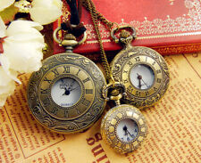 Vintage Bronze Steel Steampunk Quartz Pocket Watch Pendant Necklace Chain Retro