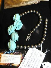 Glory Witherspoon Original Designs Necklace Black Pearls and Baby Blue Roses