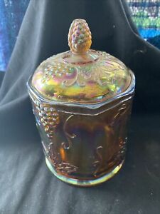 CARNIVAL GLASS INDIANA COVERED CANDY JAR DISH HARVEST GRAPE BLUE IRIDESCENT (88)