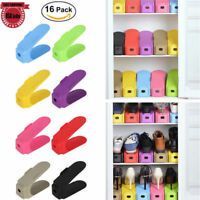 16PCS Shoe Slots Space Saver Easy Shoes Organizer Plastic Rack Storage Holder