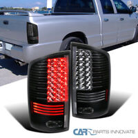 For 02-06 Dodge Ram 1500 2500 3500 Black LED Tail Lights Rear Brake Lamps Pair