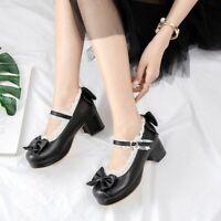 New Women Bowknot Block Heels Platform Lolita Fashion Mary Jane Sweet Shoes sz