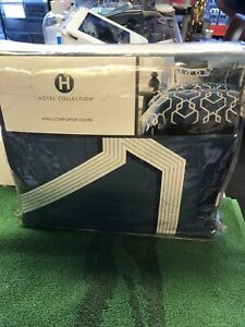 Hotel Collection Imperial King Comforter Cover  Color- Indigo Retail $330