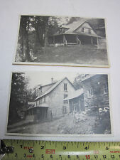 Lot of 2 Real Photo Postcard VT Camp Cabin pictures man hunt RPPC AZO 1918-1930