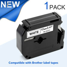 1X M-K231 MK-231 Compatible Brother P-touch Label Tape Cassette 12mm Ribbon MK