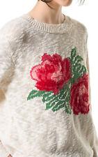 ZARA BEIGE CREAM RED ROSE FLORAL COTTON JACQUARD JUMPER SWEATER S SMALL 8 4 36