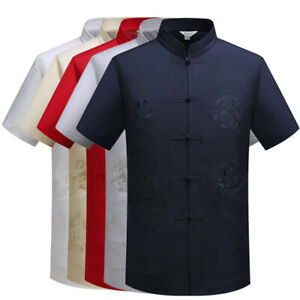 Men Traditional Chinese Tang Suit Jacket T-Shirt Shirts Kung Fu Tai Chi Uniform