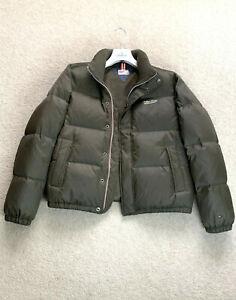 RARE Men's TOMMY HILFIGER Down Bomber Jacket Coat Winter Puffer SZ S Olive Green