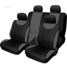New Sleek Flat Cloth Black and Grey Front and Rear Seat Covers Set For Toyota