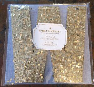 """Pottery Barn Kids The Emily & Meritt The Gold Glitter Letter """"W"""" Decorative 2015"""