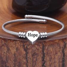Men Women Stainless Steel A-Z Initial Letter Charm Chain Bracelet Adjustable