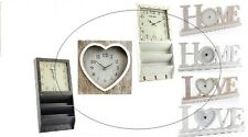 SHABBY CHIC VINTAGE STYLE WALL CLOCK WHITE NATURAL WOOD BOXED WALL MOUNTED